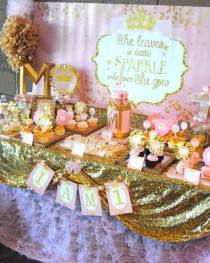 wedding photo - Pink And Gold Sparkle Party Birthday Party Ideas