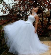wedding photo - Cinderella - Princess Wedding Dress, Bridal Dress, White Satin, Crystal Tulle, Beaded Lace, Rhinestones, Pearls, Sweetheart Neckline