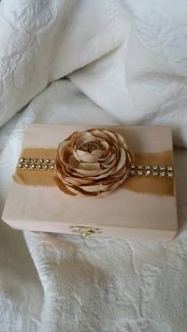 wedding photo - Rustic Shimmery Blush and Gold Aged His Hers Divided Wedding Ring Bearers Box Rhinestone Trim Flower
