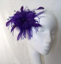 wedding photo - Dark Purple Feather Flower and Crystal Fascinator Hair Comb or Band Wedding - Made to Order