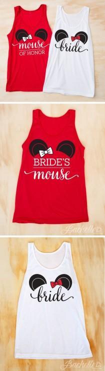 wedding photo - Cute Mouse Bachelorette Party Shirts - Bride