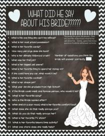 wedding photo - Bridal Shower Game What Did He Say? Couple Showers Printable