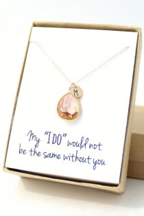 wedding photo - Peach Champagne / Gold Teardrop Necklace  Peach By ForTheMaids