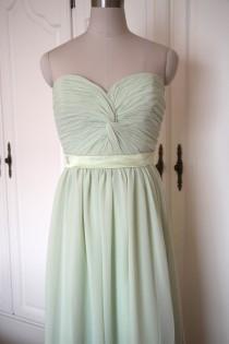 wedding photo - Mint Green Sweetheart Bridesmaid dress Floor-length Chiffon strapless Bridesmaid Dress-Custom Dress
