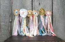 wedding photo - 6 Woodland Wedding Flower Wands, Boho Hippie or Fairy Princess Party, Bouquet Alternative for Flower Girl or Bridesmaids