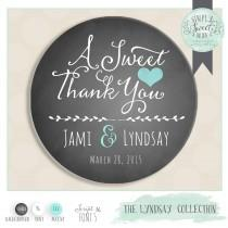 """wedding photo - personalized wedding label. Color of Choice. Size 2"""" Round. A sweet thank you. Lyndsay  collection Rustic CHALKBOARD. Custom favor sticker"""