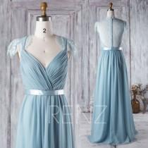 wedding photo - 2016 Blue Bridesmaid Dress, V Neck Wedding Dress, Lace Back Cap Sleeves Prom Dress, Long Chiffon Evening Gown Floor Length (H277)