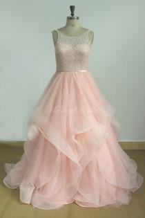 wedding photo - Romantic Blush pink A line tulle wedding dress with Swarovski beads