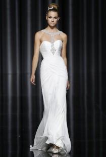 wedding photo - Pronovias - Fall 2012 - Silk Chiffon Sheath Wedding Dress with a Beaded Halter Neckline - Stunning Cheap Wedding Dresses