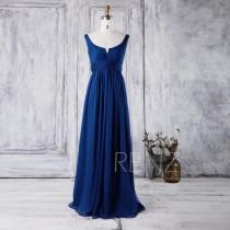 wedding photo - 2016 Royal Blue Bridesmaid Dress, Scoop Neck Chiffon Wedding Dress, A Line Prom Dress, Women Formal Dress, Low Back Evening Gown (J018)