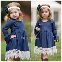 wedding photo - Flower girl Dress, Denim Dress, Toddler Dress, Country Flower Girl Dress, Denim long sleeve dress, Girls' Dresses, Navy Denim Dress