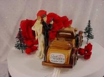 wedding photo - Custom Hitching of Outlaws Bonnie and Clyde Wedding Cake Topper-Gangster 30's Themed Convertible Car Automobile Love Ambush Weddings -C1
