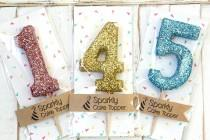 wedding photo - Glitter Number Cake Topper - cupcake topper, first birthday