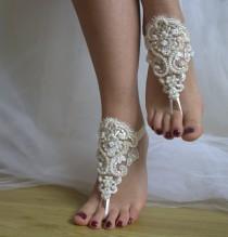 wedding photo - Beaded ivory lace wedding sandals, free shipping!