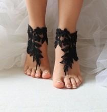 wedding photo - Black, lace, wedding sandals, bridal accessories, beach sandals, free shipping!