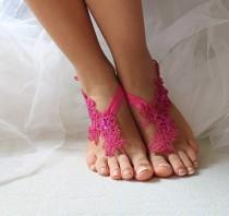 wedding photo - Beaded pink lace wedding sandals, free shipping!