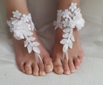 wedding photo - bridal accessories, white,lace, wedding sandals, shoes, free shipping! Anklet, bridal sandals, bridesmaids, wedding gifts.......