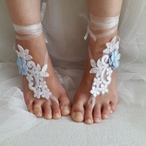 wedding photo - bridal accessories, white lace, wedding sandals, shoes, free shipping! Anklet, bridal sandals, bridesmaids, wedding gifts.......