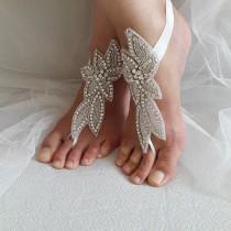 wedding photo - rhinestone,silver, wedding sandals,bridal anklet,beach sandals,, free shipping!