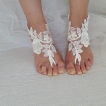 wedding photo - ivory, black. lace wedding sandals, free shipping!