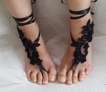 wedding photo - Beaded black, lace wedding sandals, free shipping!