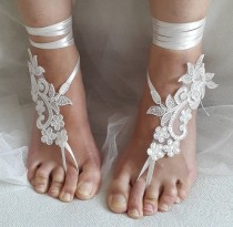 wedding photo - bridal accessories, ivory lace, wedding sandals, shoes, free shipping! Anklet, bridal sandals, bridesmaids, wedding gifts.......