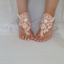 wedding photo - peach, ivory. lace wedding sandals, free shipping!