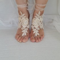 wedding photo - Beaded champagne lace wedding sandals, free shipping!
