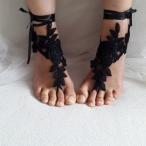wedding photo - bridal, accessories, black lace, wedding sandals, shoes, free shipping! Anklet, bridal sandals, bridesmaids, wedding gifts.......