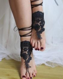 wedding photo - pale black, lace, wedding sandals, bridal accessores, beach sandals, free shipping!