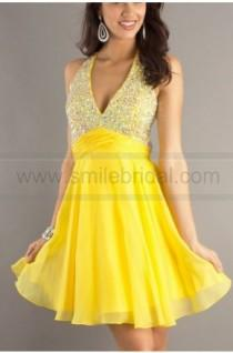 wedding photo - Cute A-line V-neck Empire Cocktail Dress with Crystal Details - 2016 New Cocktail Dresses - Party Dresses