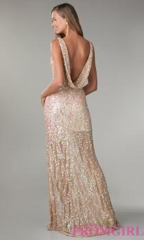 wedding photo - Floor Length V-Neck Sequin Dress - Brand Prom Dresses
