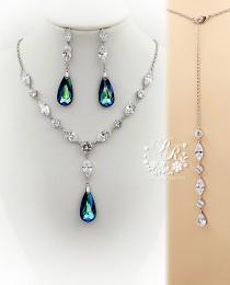 wedding photo - Wedding Necklace Earring Swarovski Bermuda Blue Crystal pendant Zirconia Rhinestone Necklace Earrings Wedding Jewelry Bridal Jewelry Sasa