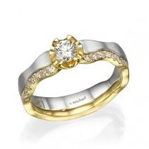 wedding photo - Engagement Band, White & Yellow gold Ring, Engagement Diamond Ring , Diamond ring, Engagement Ring, 14K Ring, Statement Ring, Promise Ring
