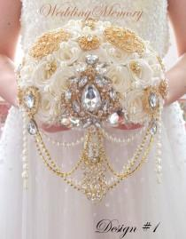 wedding photo - BRROCH BOUQUET Gold gatsby cascading  with pearls and crystals by MemoryWedding
