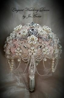 wedding photo - Pink and Silver Brooch Bouquet, Blush Pink Bridal Brooch Bouquet, Pink Brooch Bouquet, Blush Jeweled Bouquet, Pink and Ivory, DEPOSIT ONLY