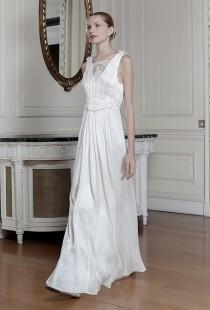 wedding photo - Sophia Kokosalaki - Spring/Summer 2014 - Dysis Sleeveless Crinkle Chiffon A-Line Wedding Dress with an Illusion High Neckline - Stunning Cheap Wedding Dresses