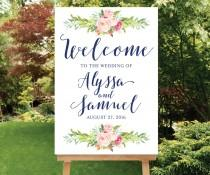 wedding photo - Printable Navy Blush Pink Wedding Welcome Sign, Wedding Digital Sign, Large Welcome Watercolor Floral Sign Bohemian Wedding Sign The Blossom