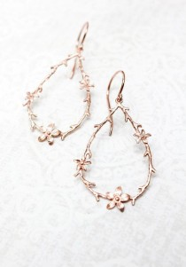 wedding photo - Twig And Flower Earrings Pink Gold Branch And Blossom Rose Gold Floral Hoops Bridal Jewelry Bridesmaids Gift Large Botanical Dangle Earrings
