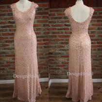 wedding photo - Pink White Sequin Dress,Evening Party Prom Dress Lace Neckline,Blush Pink Long Party Dress,U Backless Evening Cocktail Sequin Dresses