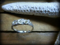 wedding photo - Mermaid's Lair Rough Diamond Ring. Yellow .45 CT Trio Sterling Silver Coral Branch Engagement Ring  Genuine Handmade Lost wax  handmade ooak