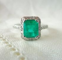 wedding photo - A Natural Emerald Cut Emerald and Diamond Engagement Ring in 14kt White Gold - Galianna