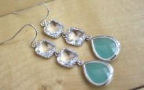 wedding photo - Aqua Earrings Dangle Earrings Mint Wedding Bridesmaid Earrings Bridesmaids Gifts for Her light blue wedding best friend gift mint earrings