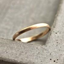 wedding photo - Women's Gold Wedding Band, 2mm Half Round Slim Recycled 14k Yellow Gold Ring Brushed Gold Wedding Ring - Made in Your Size