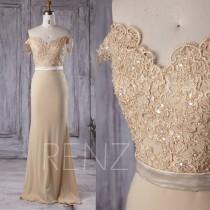 wedding photo - 2016 Beige Chiffon Bridesmaid Dress Long, V Neck Lace Wedding Dress, Off Shoulder Prom Dress, Open Back Evening Gown Floor Length (G167B)