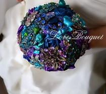 wedding photo - SALE! Ready to ship! Purple Teal Blue Emerald Wedding Brooch Bouquet, Heirloom Keepsake Peacock Crystal Rhinestones Wedding  Brooch Bouquet