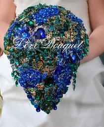 wedding photo - Brooch Bouquet, Unique Wedding Bouquet, Royal Blue Emerald Silver & Gold Wedding Bouquet, Bridal Bouquet, Jewelry Bouquet, Cascading Bouquet