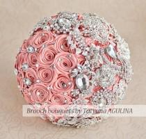 wedding photo - Brooch bouquet. Coral and silver wedding brooch bouquet, Jeweled Bouquet. Made upon request Quinceanera keepsake bouquet