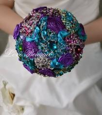 wedding photo - Wedding Bouquet, Purple Brooch Bouquet, Peacock Wedding Brooch Bouquet, Bridal Bouquet, Jewelry Bouquet, Wedding Decor, Turquoise Bouquet