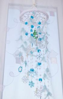 wedding photo - Fairy Christmas Mobile Nursery Bаbу Decor Beaded Snowflake Bedroom Mobiles Winter Dream catcher Babies Snow Crib White Blue Baby Girl Boy